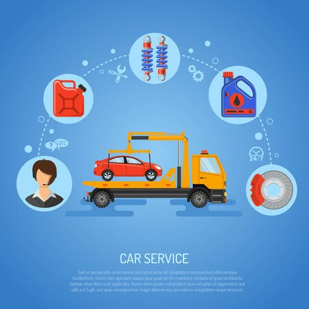 Car Service Koncepcja plakat, strona internetowa, reklama z płaskimi Ikony jak wsparcie i manipulatorem Oil. Ilustracje wektorowe