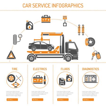 Car Service Infographies avec icônes pour le site Web, Publicité comme Manipulateur, batterie, huile.