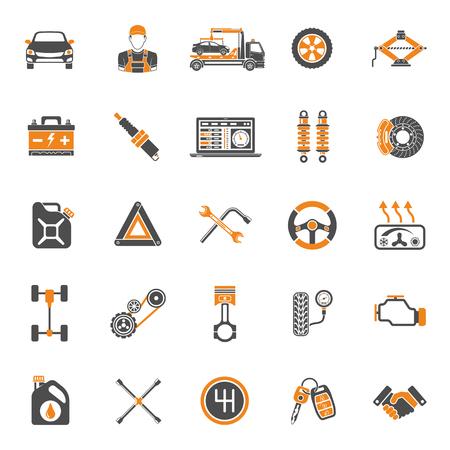 Servicio Dos iconos del coche de color fijó para el cartel, sitio Web, Publicidad como el ordenador portátil, la batería, Jack, Mecánico. Ilustración de vector