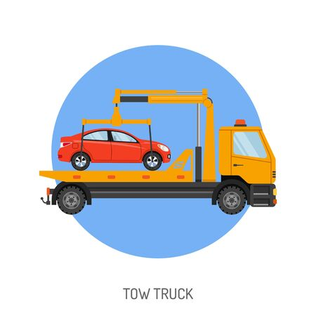 Car Service Concept with Tow Truck Icon for Web Site, Advertising.