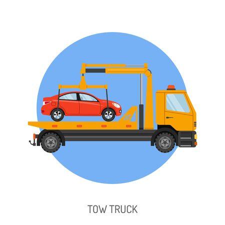 Concept Car Service avec Tow Truck Icône de site Web, publicité.