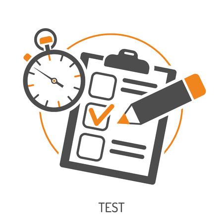 Edukacja Płaski zestaw ikon dla ulotka, plakat, strona internetowa jak test, ołówek i stoper.