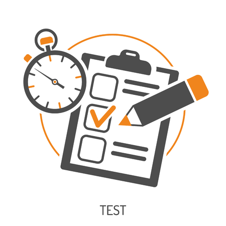 Education Flat Icon Set for Flyer, Poster, Web Site Like Test, Pencil and Stopwatch. Illustration