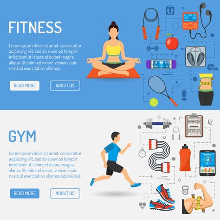 Fitness, Gym, gezondheid Banners met vlakke pictogrammen voor mobiele toepassingen, website, reclame, zoals Yoga, Runner, gewicht en gadgets. Vector Illustratie