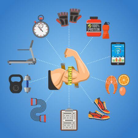 Fitness, gimnasio, cardio, concepto estilo de vida saludable para aplicaciones móviles, Sitio Web, Publicidad con cinta de correr, bíceps, proteínas y iconos de alimentos. Ilustración de vector