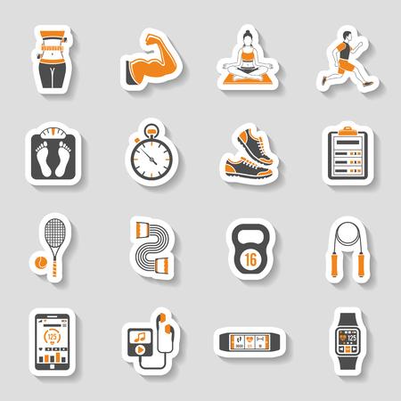 Aptitud, gimnasio, etiqueta de la Salud iconos para aplicaciones móviles, del sitio web, publicidad como yoga, Runner, peso y Gadgets. Ilustración de vector
