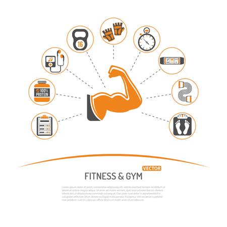 Fitness, Gimnasio, concepto de estilo de vida saludable para aplicaciones móviles, Sitio Web, Publicidad con el bíceps, proteínas y Escalas de iconos. Ilustración de vector
