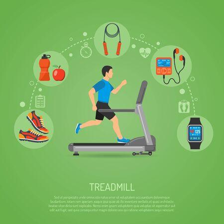 Fitness, Cardio, Gesunder Lebensstil-Konzept mit Runner auf Tretmühle Icons für mobile Anwendungen, Web Site, Werbung.