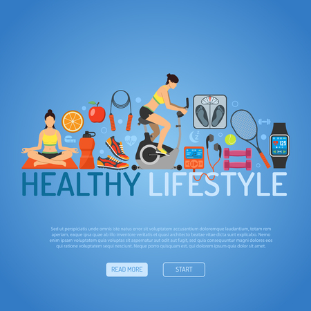 Healthy Lifestyle Concept for Mobile Applications, Web Site, Advertising with Exercise Bike, Yoga, Scales and Gadgets Flat Icons. Ilustração
