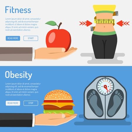 Healthy Lifestyle and Obesity Concept for Mobile Applications, Web Site, Advertising with Hand, Waist, Hamburger and Scales Icons.