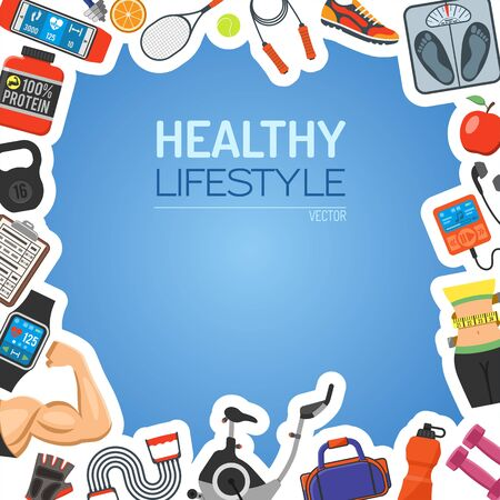 Healthy Lifestyle Background for Mobile Applications, Web Site, Advertising like Waist, Exercise Bike, Biceps and Scales Icons.