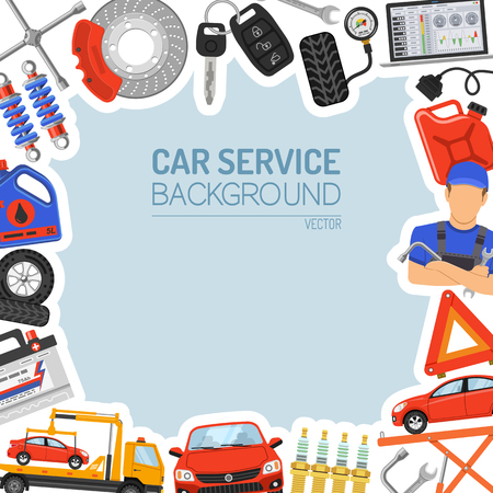 Car Service Frame with Flat Icons for Poster, Web Site, Advertising like Laptop, Tow Truck, Battery, Jack, Mechanic. Illustration