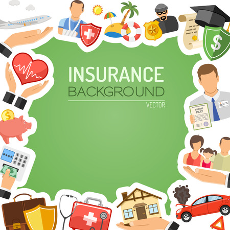 Usługi ubezpieczeniowe Koncepcja plakat, witryny internetowej, reklama jak dom, samochód, Medyczny, rodzinnych i biznesowych.