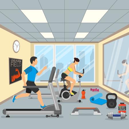 Fitness et Gym Concept pour le site Web, Publicité comme Treadmill, Exercise Bike et Dambbells icônes.