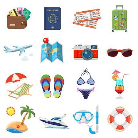 Vacaciones y turismo Iconos planos establecidos para aplicaciones móviles, sitio web, publicidad como barco, cóctel, isla, avión y maleta. Foto de archivo - 64290415