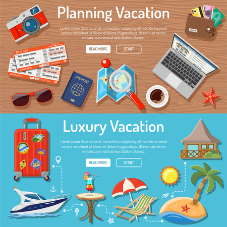 Planning Luxury Vacation and Tourism Horizontal Banners with Flat Icons for Mobile Applications, Web Site, Advertising like Planning, Booking, Tickets, Money, Bungalows, Island, Map and Cocktail. Иллюстрация
