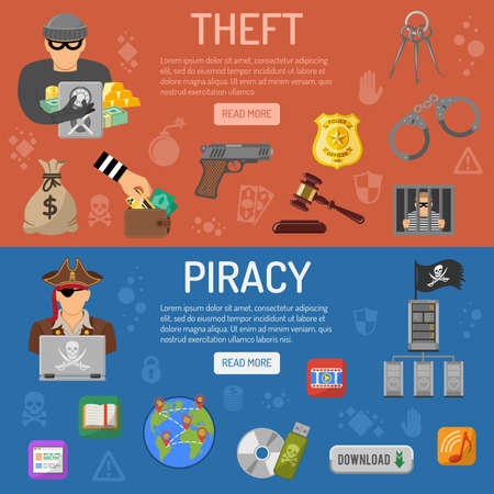 Piracy and Theft Horizontal Banners with flat icons Thief and Pirate.