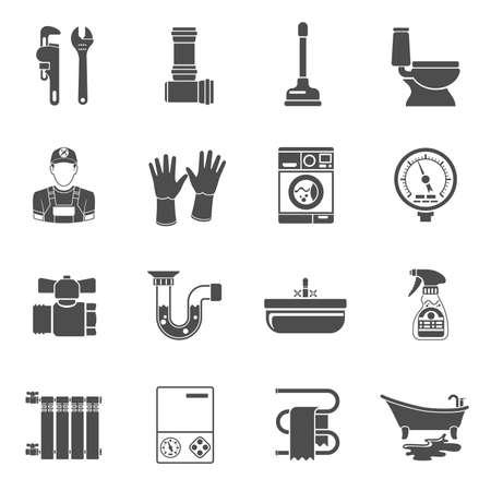 Conjunto de iconos negros de servicio de fontanería con elementos de fontanero, dispositivo y herramientas. Ilustración aislada.