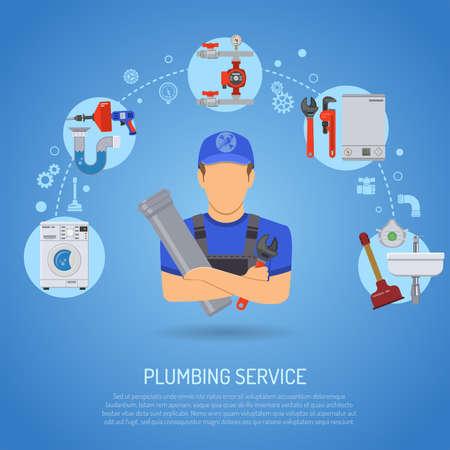 Fontanería Servicio Infografía de reparación y limpieza con el fontanero, herramientas y dispositivos plana Los iconos. ilustración.