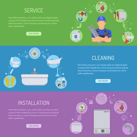 Sanitär-Service Installation und Wartung horizontale Banner mit Klempner, Werkzeuge und Geräte-Flach Icons. Illustration. Vektorgrafik