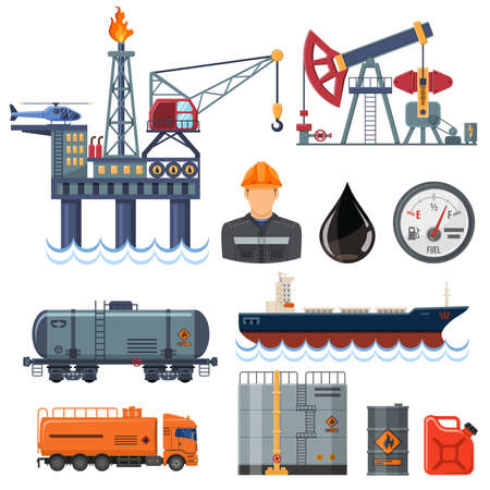 Oil industry extraction production and transportation oil and petrol Flat Icons Set with oilman, rig and barrels. Isolated illustration.