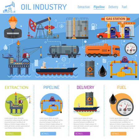 Oil industry Infographics with Flat Icons extraction production and transportation oil and petrol with oilman, rig and barrels. vector illustration. Vector Illustration