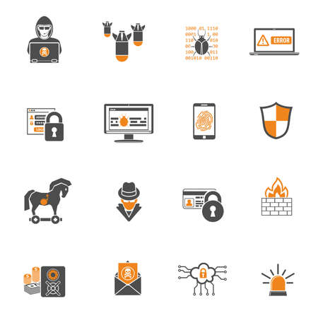 Internet Security Two Color Icons Set for Flyer, Poster, Web Site Like Hacker, Virus, Spam and Firewall. Isolated vector illustration.