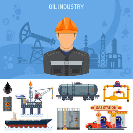 Oil industry Concept with Flat Icons extraction production and transportation oil and petrol with oilman, rig and barrels. vector illustration.