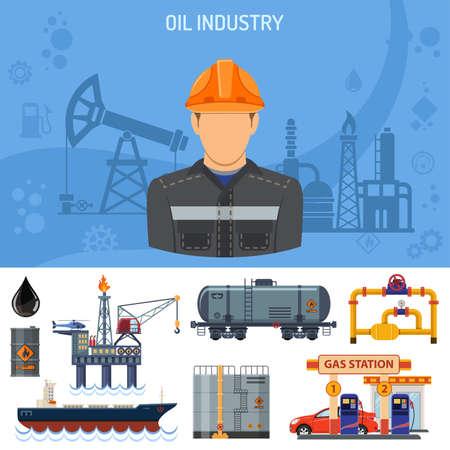 Olie-industrie Concept met vlakke pictogrammen winning productie en het transport van olie en benzine met oilman, tuigage en vaten. vector illustratie. Stock Illustratie