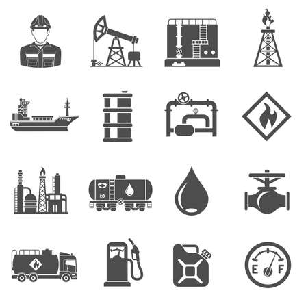 Oil industry extraction production and transportation oil and petrol Black Icons Set with oilman, rig and barrels. Isolated vector illustration. Иллюстрация