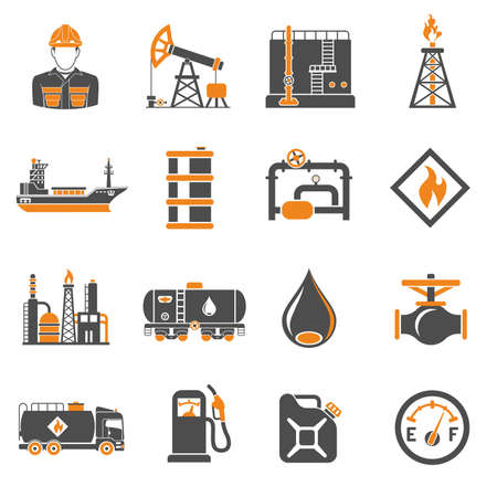 Oil industry extraction production and transportation oil and petrol Two Color Icons Set with oilman, rig and barrels. Isolated vector illustration.