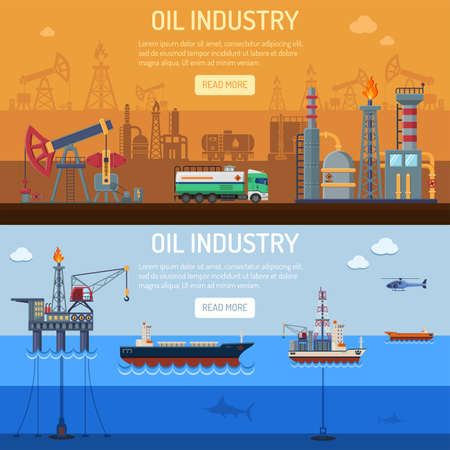 석유 산업 석유 플랫폼, 장비 및 배럴 플랫 아이콘 추출 정제 및 교통 석유와 가솔린 가로 배너입니다. 벡터 일러스트 레이 션입니다.