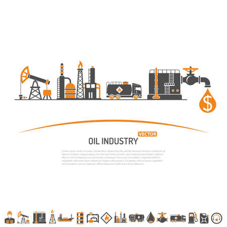 Oil industry Concept with Two Color Flat Icons extraction production and transportation oil and petrol. isolated vector illustration.