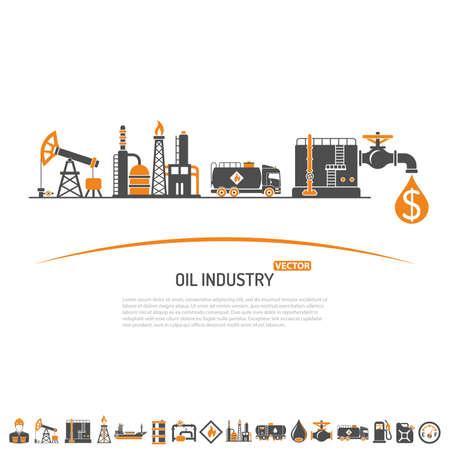Olieindustrie Concept Met Twee Kleur Flat Icons Extractie Productie En Transport Olie En Benzine. Geïsoleerde vector illustratie.