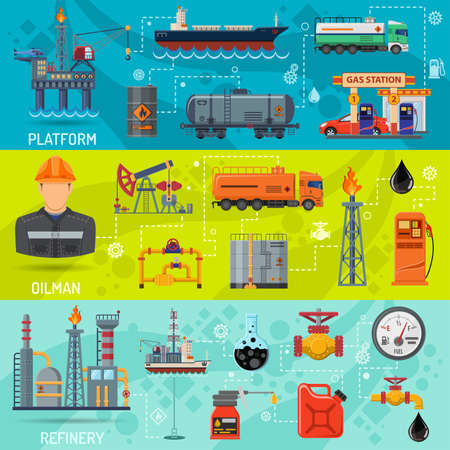 Oil industry Horizontal Banners with Flat Icons extraction refinery and transportation oil and petrol with gas station, rig and barrels. vector illustration.