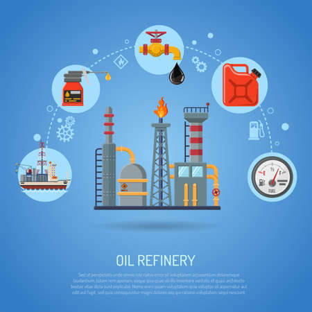 Oil industry Concept with Flat Icons extraction Refinery and transportation oil and petrol with cargo ship, pipeline and factory. vector illustration.