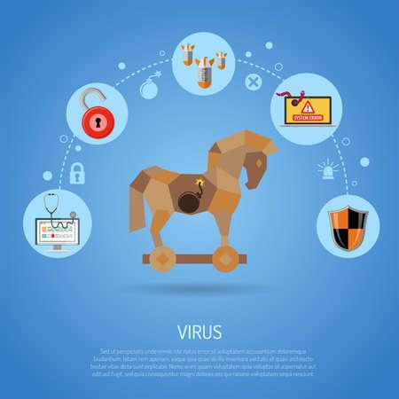 Cyber ??Crime & Virus Concept avec un cheval de Troie, bombe, un ver et Bug icônes plates. illustration vectorielle.