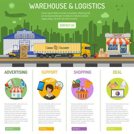 Warehouse en logistieke infographics met platte pictogrammen Stel voor e-commerce marketing en reclame met winkel, levering, vrachtwagen, cityline en vorkheftruck. Vector illustratie