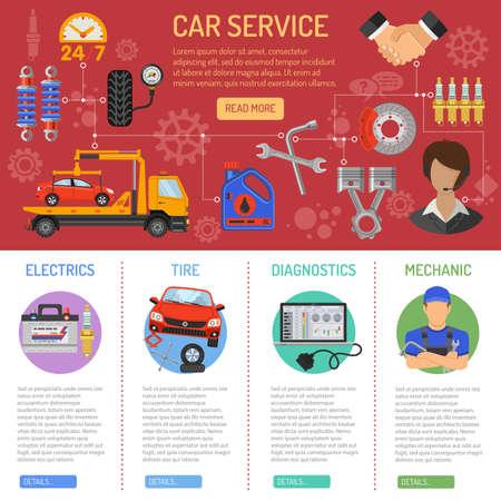 Car Service e Infografica assistenza stradale con TV icone carro attrezzi, supporto, accumulatore e presa. Illustrazione vettoriale.