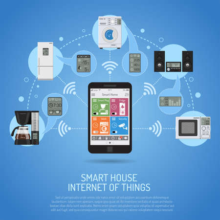 Smart House and internet of things concept. smartphone controls smart home like smart plug, fridge coffee maker washer microwave and music center flat icons. vector illustration