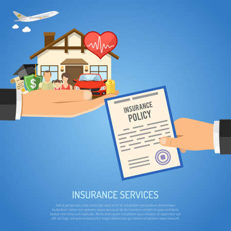 Insurance Services Concept with Flat Icons for Poster, Web Site, Advertising like House, Car, Medical, Travel and Family insurance in Hand. vector illustration