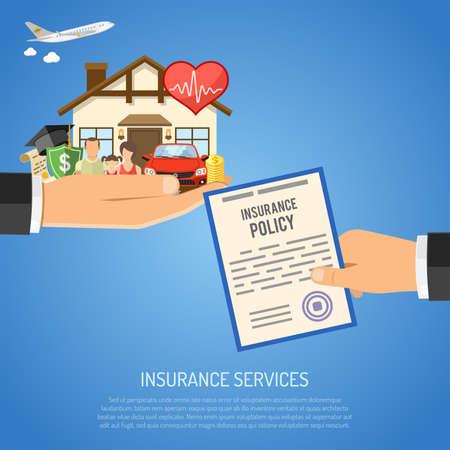 Versicherungsservice-Konzept mit flachen Ikonen für Plakat, Website, Werbung wie Haus-, Auto-, medizinische, Reise- und Familienversicherung in der Hand. Vektor-Illustration Standard-Bild - 69363723