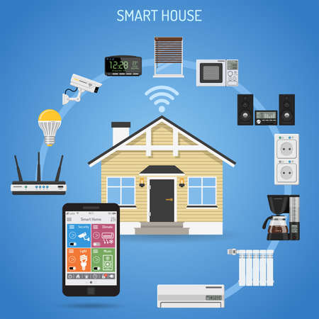 Smart House and internet of things concept. smartphone controls smart home like security cam, lighting, air conditioning, radiator and music center flat icons. vector illustration