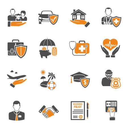 Insurance services two color icon Set such as House, Car, Medical and Business. isolated vector illustration Vetores