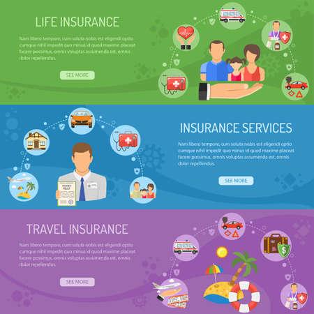 Servicios de aseguramiento banners horizontales con los iconos planos Asegurador, vida y seguro de viaje. ilustración vectorial