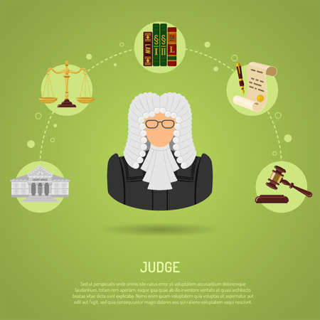 Law and Order Concept with flat icons Judge, gavel, Handcuffs, scales and courthouse. vector illustration
