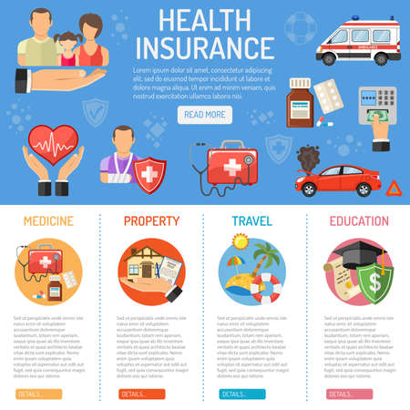 Insurance Services concept with flat Icons Set - House, Car, Medical and Travel insurance services. Vector illustration