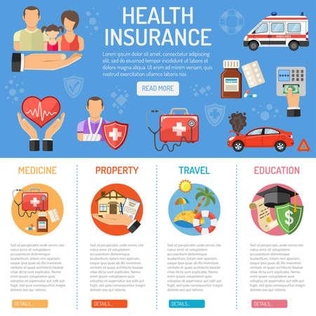 Verzekeringsdiensten concept met vlakke Icons Set - huis, auto, medische en reisverzekeringsdiensten. Vector illustratie