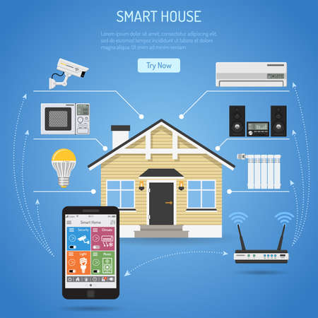 Smart House y el concepto de Internet de las cosas. Smartphone controla casa inteligente como cámara de seguridad, radiador de aire acondicionado ligero y iconos de centro de música plana. Ilustración vectorial