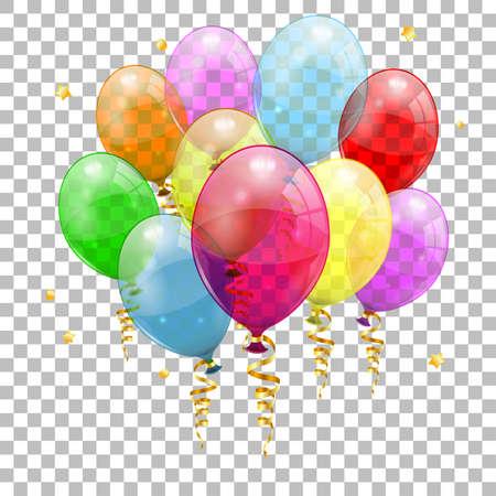 Wakacyjny tło z balonami, Streamer i confetti na przejrzystym tle, odosobniona wektorowa ilustracja